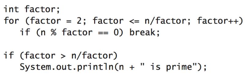 Break statement in Java