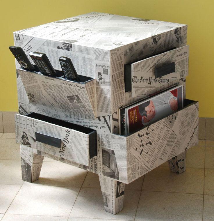 Muebles forrados con papel de peri dico una muy buena idea - Papel para empapelar muebles ...