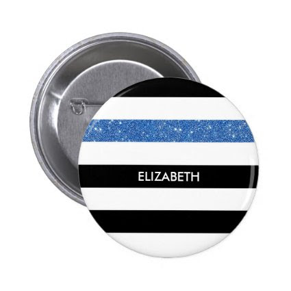 Modern Black White Stripes Blue Glitter and Name 2 Inch Round Button