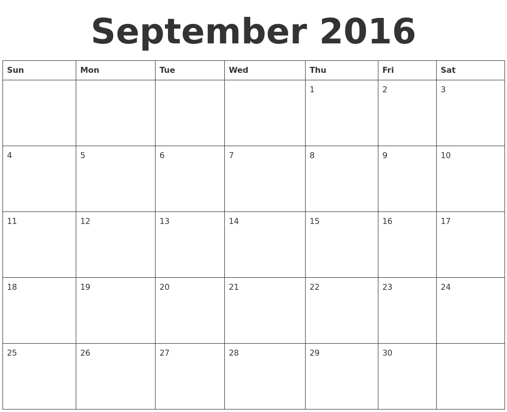 september 2016 blank calendar template