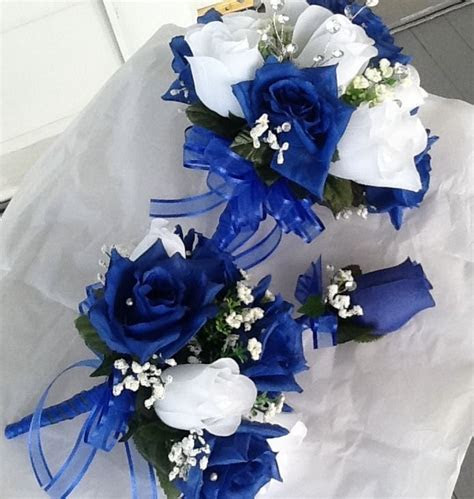 pc wedding set  bouquets royal blue  white