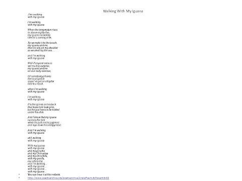 I Am Walking With My Iguana Song Lyrics