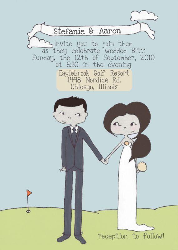Custom Illustrated Wedding Invitation Portrait wedding cute unique