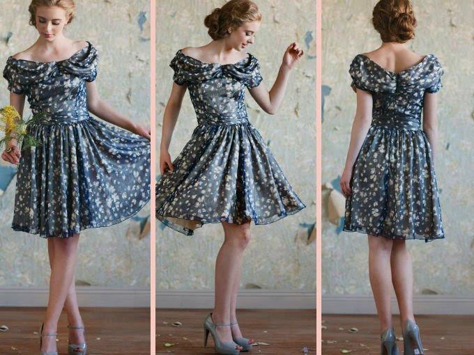 Vestido con estampado floral, perfecto para una boda con aires vintage. Acompáñalo con accesorios sencillos y peina tu cabello en un chongo clásico.