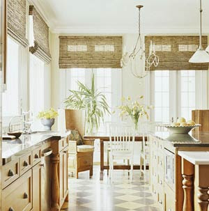 kitchen with bamboo window shades