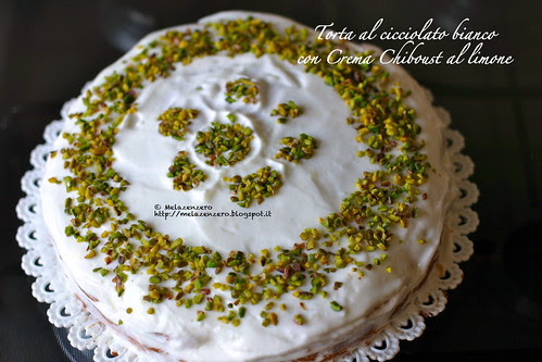 Torta al cioccolato bianco con crema chiboust al limone