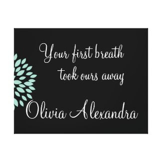 Baby Nursery Quote First Breath with Name