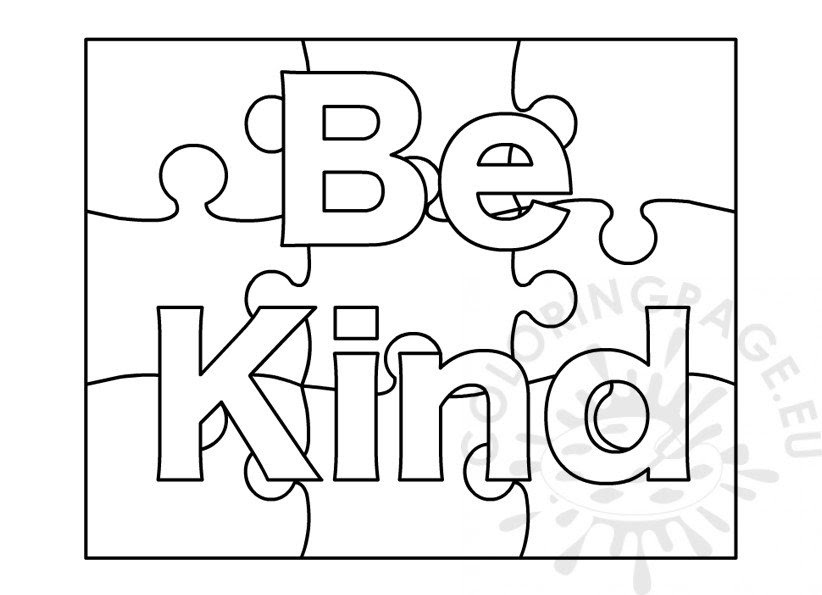 Be Kind Coloring Page - Carinewbi