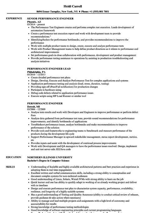 Performance Engineer Resume Samples | Velvet Jobs