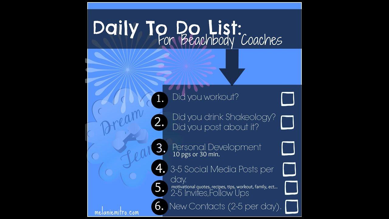 My Daily To Do List As A Beachbody Coach - YouTube