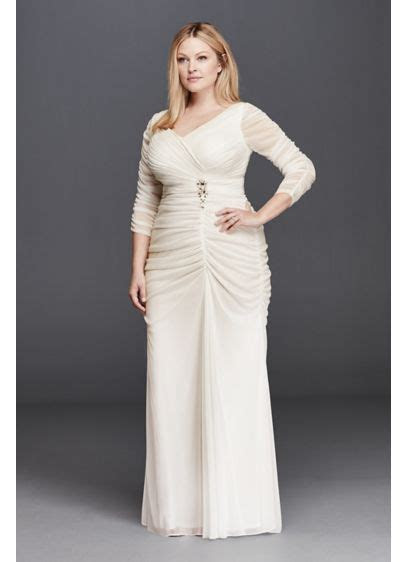 3/4 Illusion Sleeve Wedding Dress with Ruching   David's