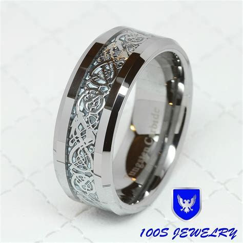 Details about 8MM Tungsten Carbide Silver Celtic Dragon