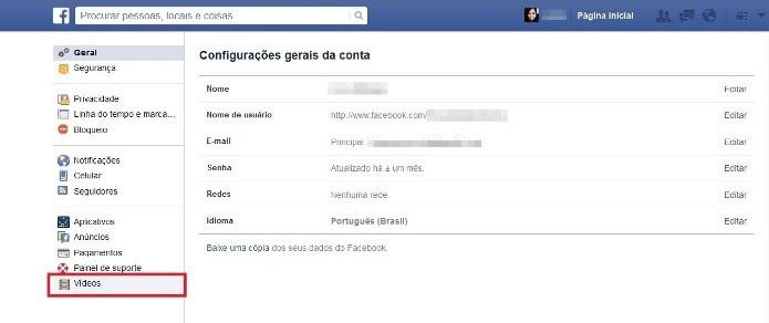 Configurações do Facebook (Foto: Reprodução/Lívia Dâmaso)