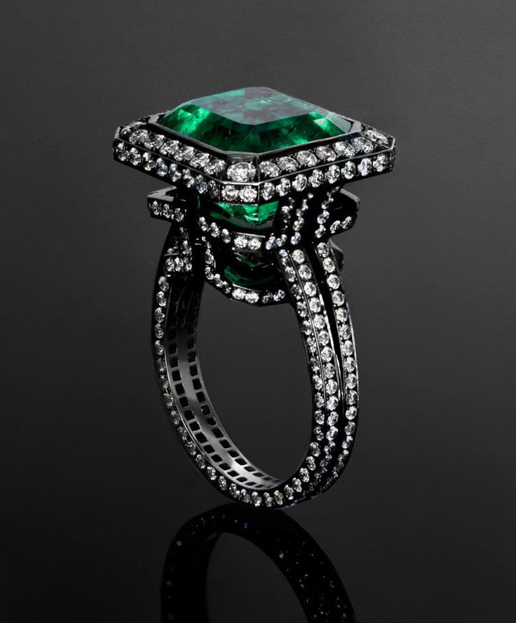 Jack du Rose Emerald Labyrinth ring with 9.196ct emerald and 2.467ct diamonds set in blackened white gold