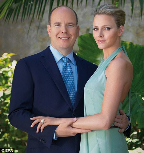Knuckleduster: An undated photograph provided today by the Monaco Palace shows Prince Albert with fiancée Charlene Wittstock