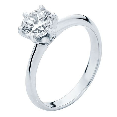Round Solitaire Engagement Ring White Gold   Elegance