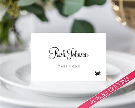 Place Card Template, Place Cards with Food Icon, Place