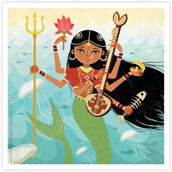 Ragamala Series No.4: 'A Goddess of the Seas' (GREEN)