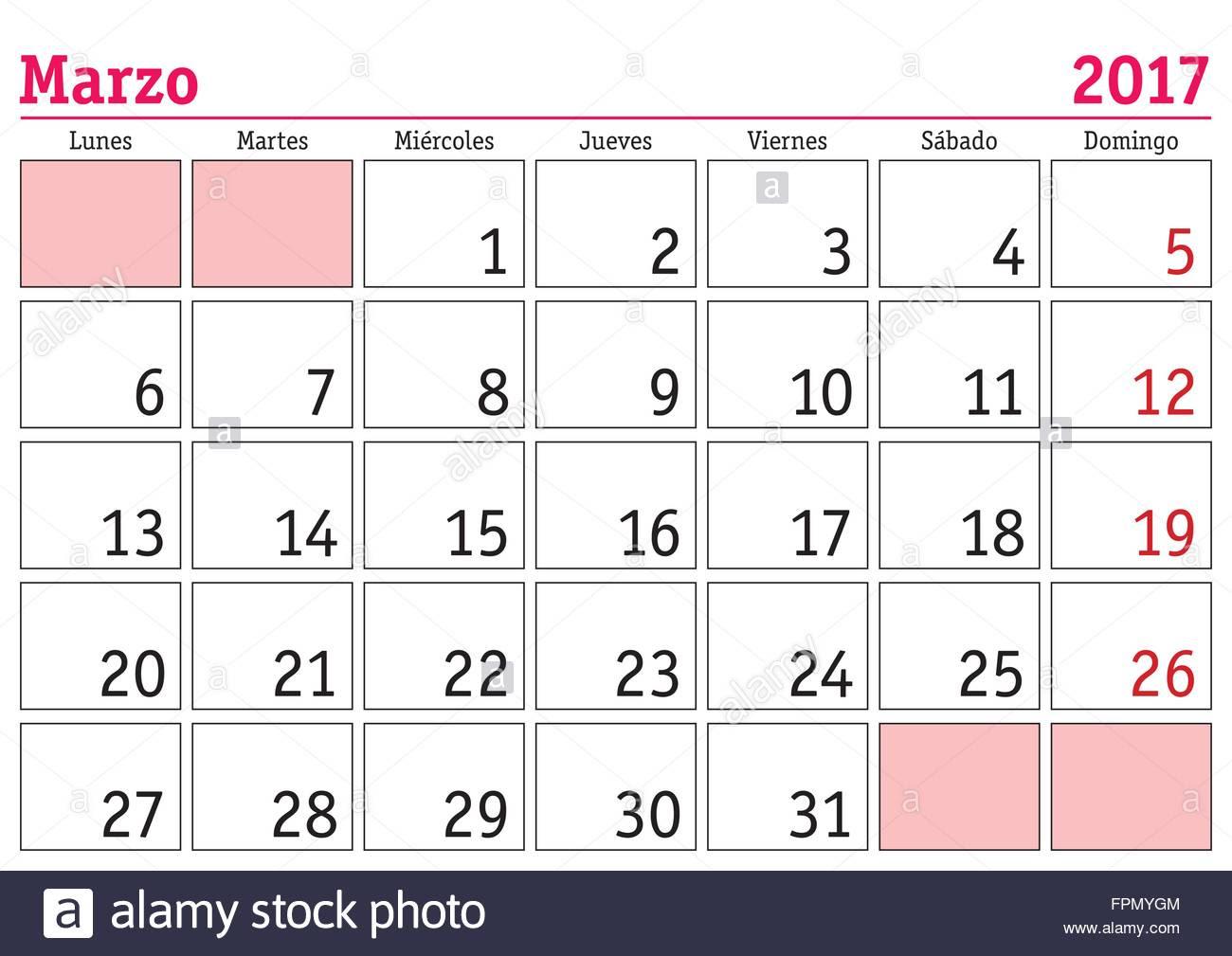 March Calendar 2017 In Spanish – 2017 March Calendar
