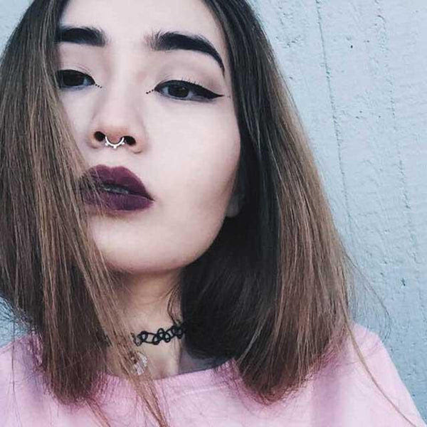 Super Cute Small Naughty Bites Silver Septum Piercing Patapatajewelry