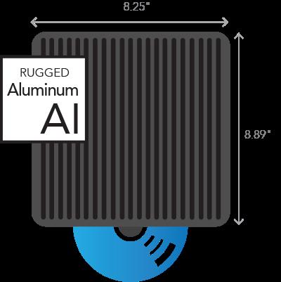 Diseño de aluminio resistente Midiendo 8.25 pulgadas de ancho por 8.89 pulgadas de alto