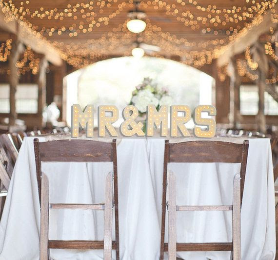 MR & MRS 6x Marquee Letter Lights with warm white LEDs and choice of power supply, 20cm (8inch) high