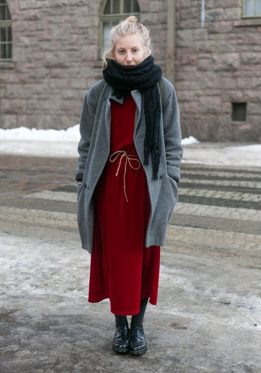 """""""I've had the coat for years, the dress is from Fida. The rope was tied around a carpet, now it's my belt.    Usually I want to be unnoticed. Maybe that's the reason I wear black mostly.    My friend Aura has a great style. She looks like Aura, not like anyone else."""""""