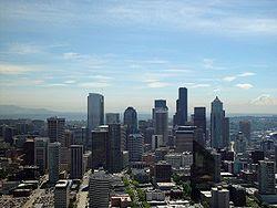 Vista del centro financiero de Seattle