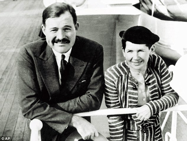 Hemingway arriving in New York in 1934 with second wife Pauline 'Fife' Pfeiffer. 'I wanted to explore what made this incredible set of women put up with him,' said 'Mrs Hemingway' writer, Naomi Wood