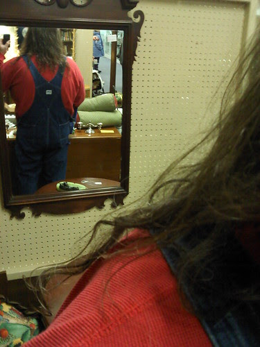 Antiquing: My back in the mirror