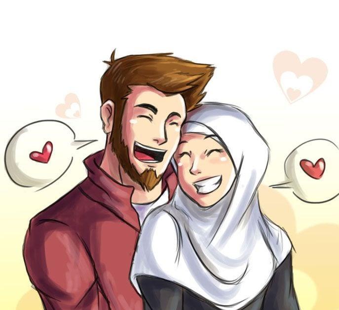 34 Kartun Muslimah Couple Terpisah Gambar Kartun Ku