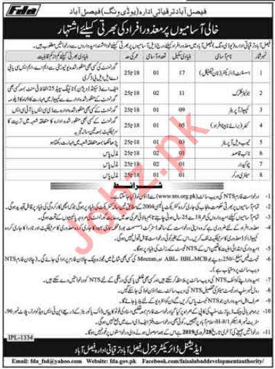 Faisalabad Development Authority FDA Jobs via NTS