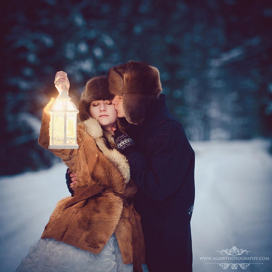 zimowy plener ślubny