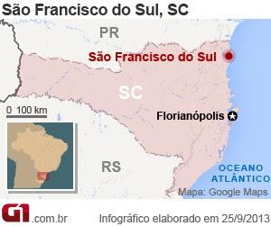 Mapa Incêncio São Francisco do Sul (Foto: Editoria de Arte/G1)