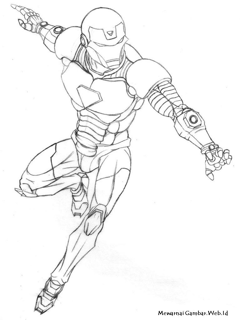 Mewarnai Gambar Robot Iron Man - GAMBAR MEWARNAI HD