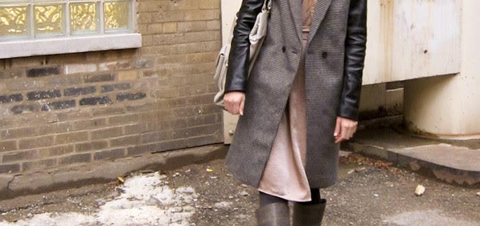 dash dot dotty, christmas coat, leather sleeves, tweed, orange hat, ootd, outfit blog