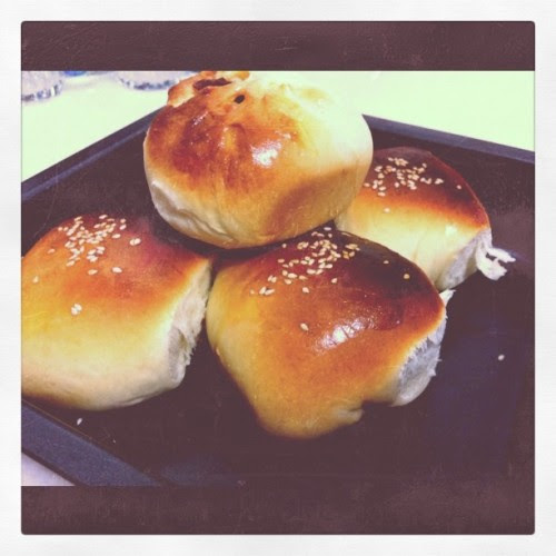 Simple old school red bean bun! :)  (Taken with instagram)