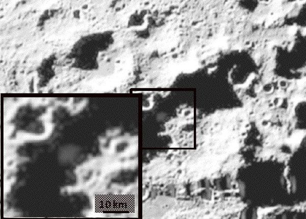 An image taken by the LCROSS spacecraft...showing its Centaur rocket stage impacting the Moon on October 9, 2009.