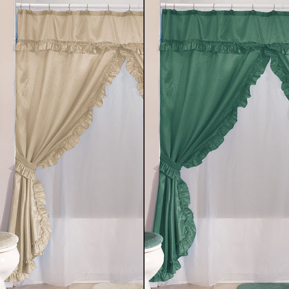 Double Swag Shower Curtains With Valance - Home - Walter Drake