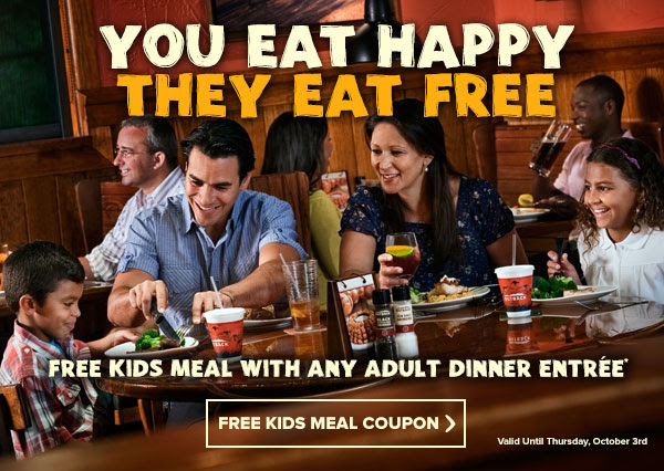 YOU EAT HAPPY, THEY EAT FREE - Free kids meal with any adult dinner entree**
