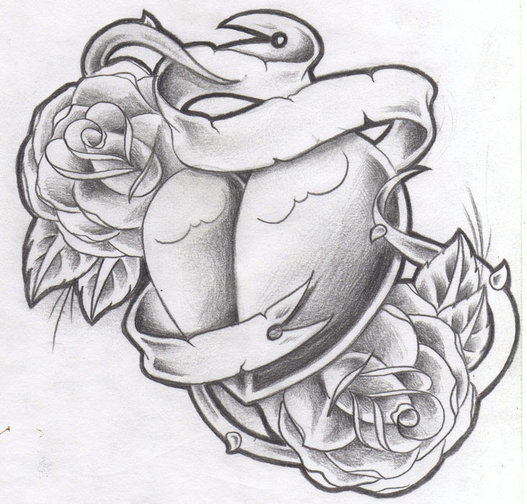 Grey Flowers With Banner And Heart Tattoo Design