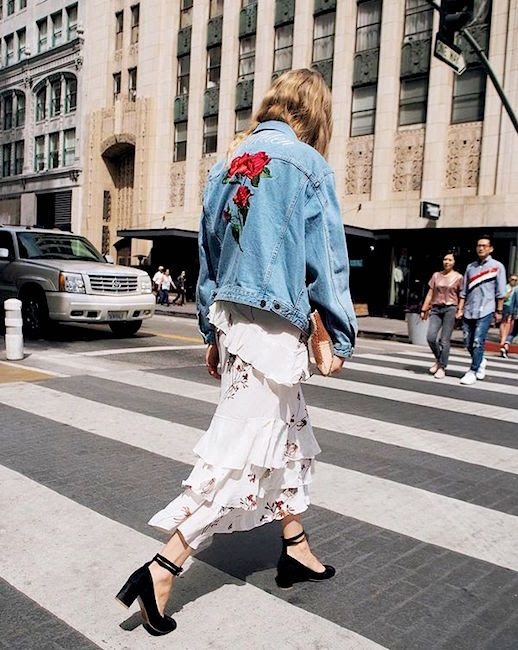 Le Fashion Blog Embellished Denim Jacket Floral Ruffle Maxi Dress Heels Via @Taylranne