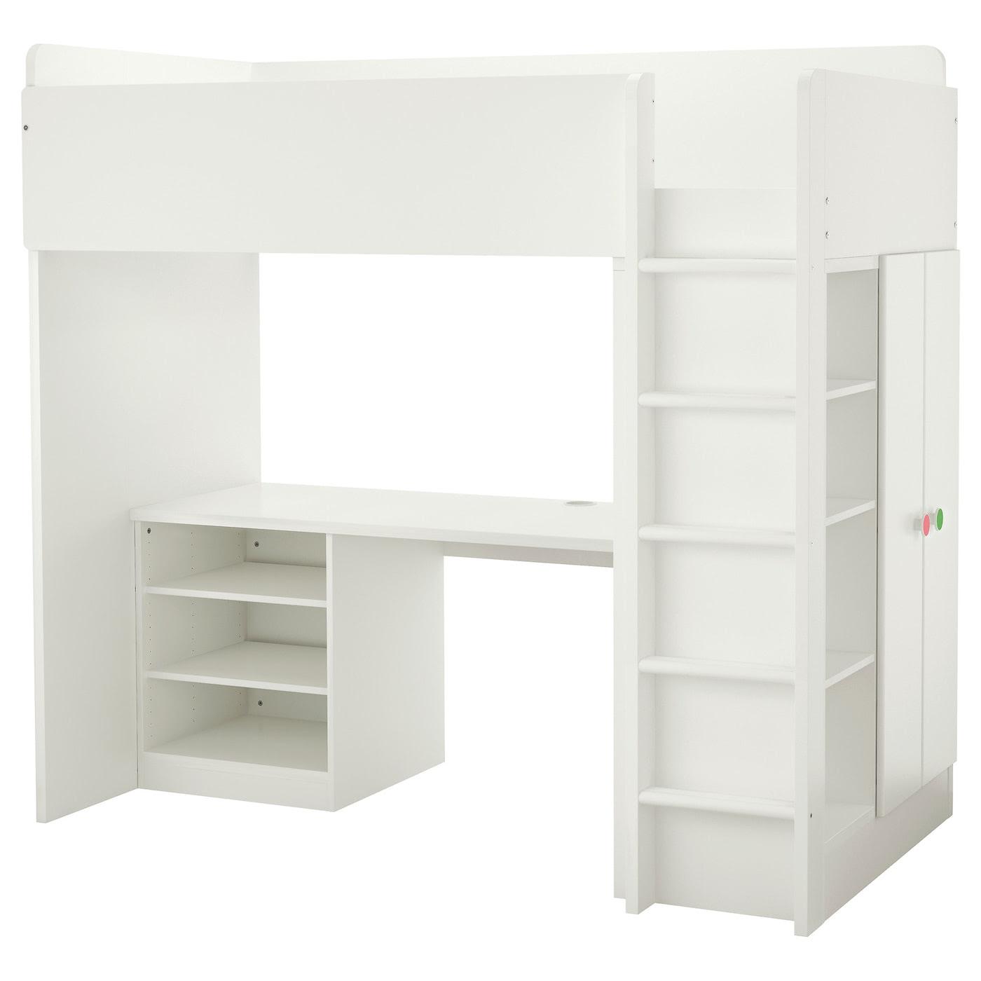 STUVA\/FÖLJA Loft bed combo w 2 shelves\/2 doors White 207x99x193 cm  IKEA