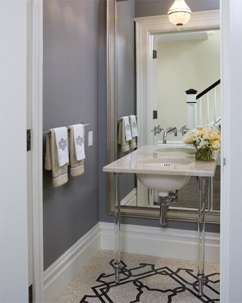 Beveled Floor Mirror - Transitional - bathroom - Tish Key Interior ...