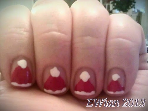 Santa's hat nails by ewian