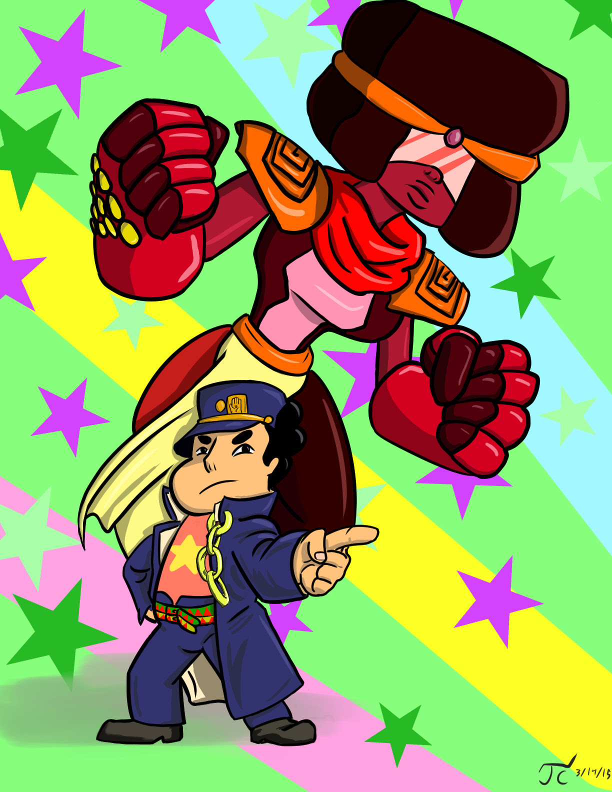 Something I've been working on the past few days for fun. Steven Universe and Garnet as Jotaro Kujo and Star Platinum.
