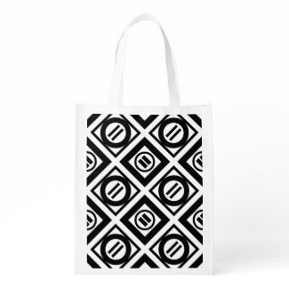 Black Equal Sign Geometric Pattern on White Grocery Bags