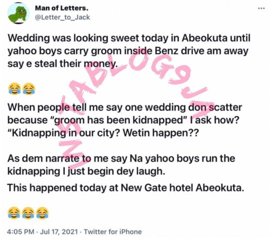 Drama As 'Yahoo Boys' Allegedly Kidnap Groom At His Wedding Over Unpaid Debt