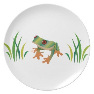 Tree Frog and Grass on Melamine Dinner/Party Plate