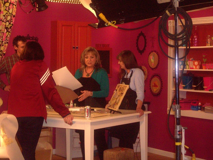 Prepping on set of Scrapbook Soup with Host Julie and Kathie Stull, the show's Producer.